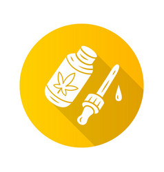 cbd oil flat design long shadow glyph icon weed vector image