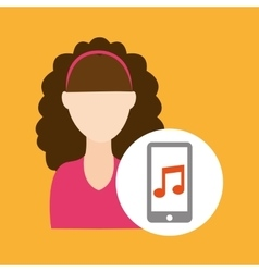 Character curly hair smartphone music application vector