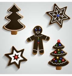Chocolate ginger bread man tree and stars set vector