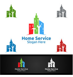 city real estate and fix home repair services logo vector image