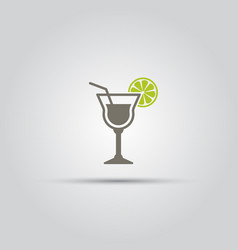 cocktail with slice of lime isolated icon vector image