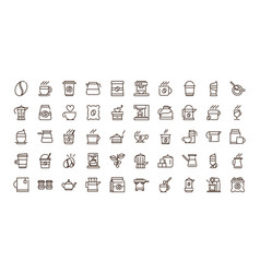 Coffee fresh product maker machine and others icon vector