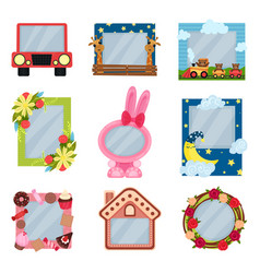 collection of cute photo frames for boys and girls vector image