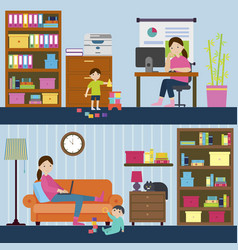 colorful motherhood horizontal banners vector image