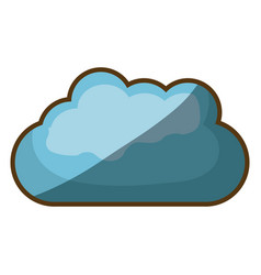 Colorful thick contour of blue cloud with half vector