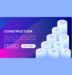 construction concept with thin line isometric vector image