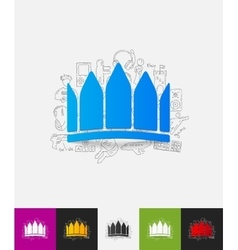 crown paper sticker with hand drawn elements vector image
