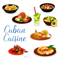 Cuban meat dishes with dessert and drinks vector
