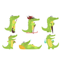 Cute crocodile cartoon character in different vector