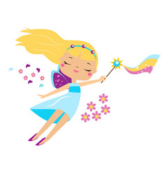 cute fairy flapping magic wand cartoon little vector image