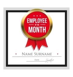 Employee month certificate template vector