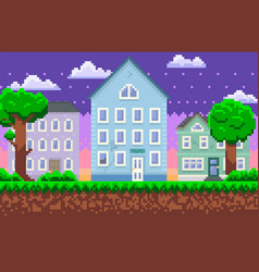 empty city or village with trees around houses vector image