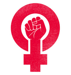 Female gender symbol with raised fist vector