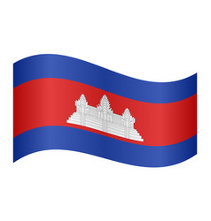 Flag of cambodia waving on white background vector