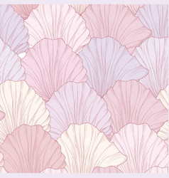Floral seamless pattern engraved flower petals vector