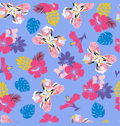 Flower hibiscus and flying butterflies seamless vector