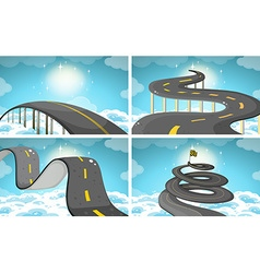 Four scene of roads in the sky vector