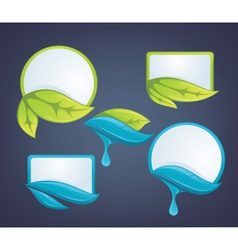 fresh leaves and water drops nature labels vector image