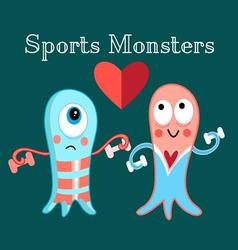 Funny monsters funny a involved in sports vector