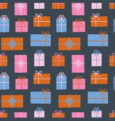 Gift boxes seamless pattern christmas presents vector