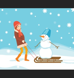 Girl and snowman on the sled vector image