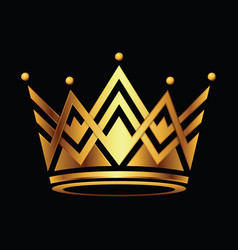 golden crown symbol icon logo on black vector image