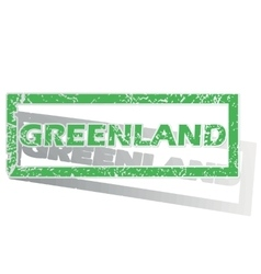 Green outlined greenland stamp vector