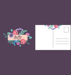 hello postcard happy spring holiday card vector image