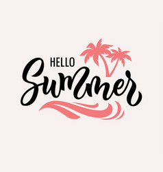 Hello summer hand drawn text vector