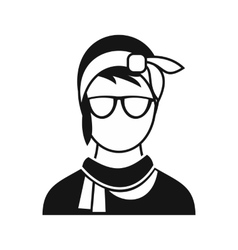Hipster woman icon simple style vector