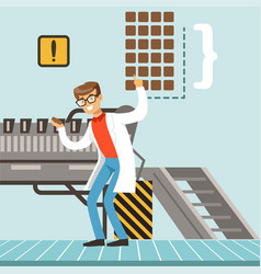 Hocolate factory production line male vector