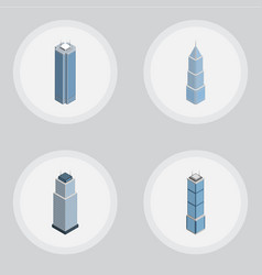 isometric construction set of exterior tower vector image