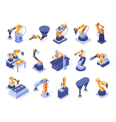 Isometric robotic arm industrial factory machines vector