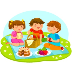Kids on a picnic vector