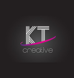 Kt k t letter logo with lines design and purple vector