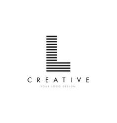 l zebra letter logo design with black and white vector image