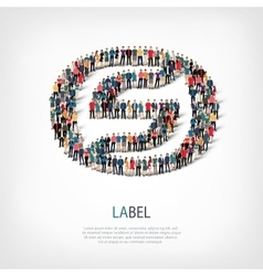 Label people sign 3d vector