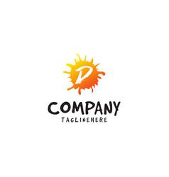 Letter d logo in fresh orange juice splash design vector