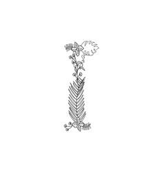 Letter i floral ornament vector