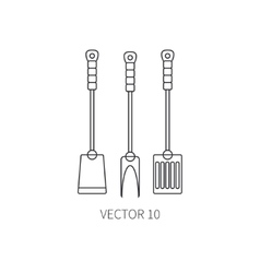 Line flat kitchenware icons fork furcula vector