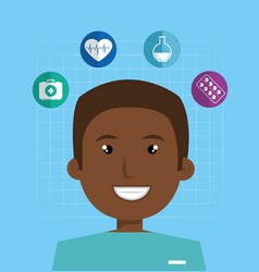 Male afro paramedic with medical icons vector