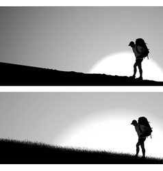 Man with a backpack vector
