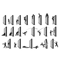 Man with a wall stick figure pictograph icons vector