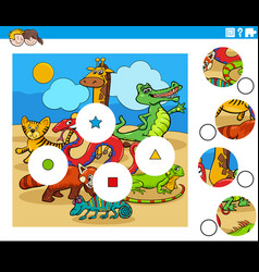 match pieces task with cartoon animal characters vector image