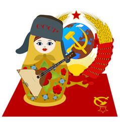 matryoshka in fur cap with a balalaika vector image