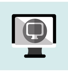 monitor pc with social marketing isolated icon vector image