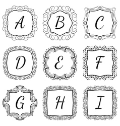 Monogram set hand drawn style in black and white vector image