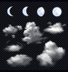 Moon and clouds on transparent background vector
