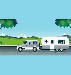 natural caravan car vector image