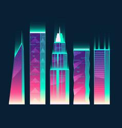 Neon multistorey buildings cartoon vector